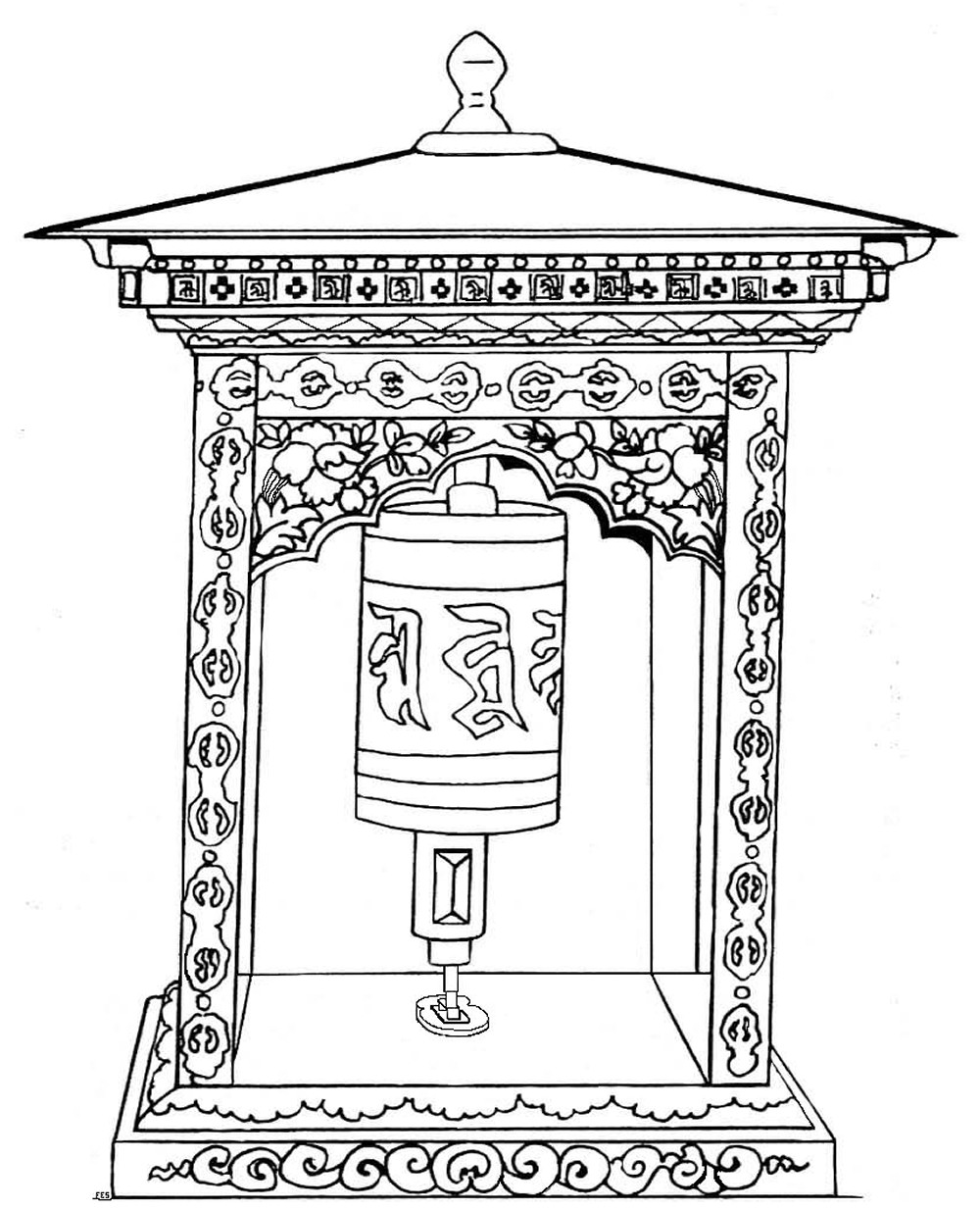Prayer Wheel Coloring Page